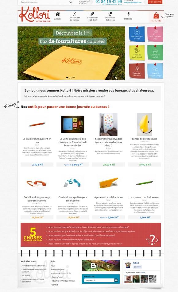 La page d'accueil de Kollori, la boutique qui rend vos bureaux plus chaleureux !